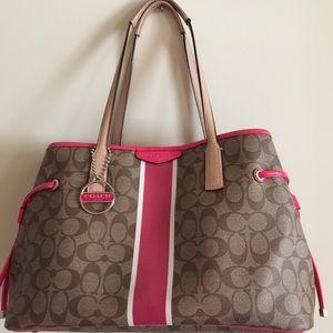 Hot Pink Signature Stripe Coach Handbag/Tote
